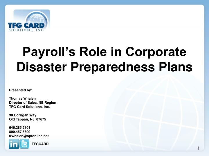 payroll s role in corporate disaster preparedness plans n.