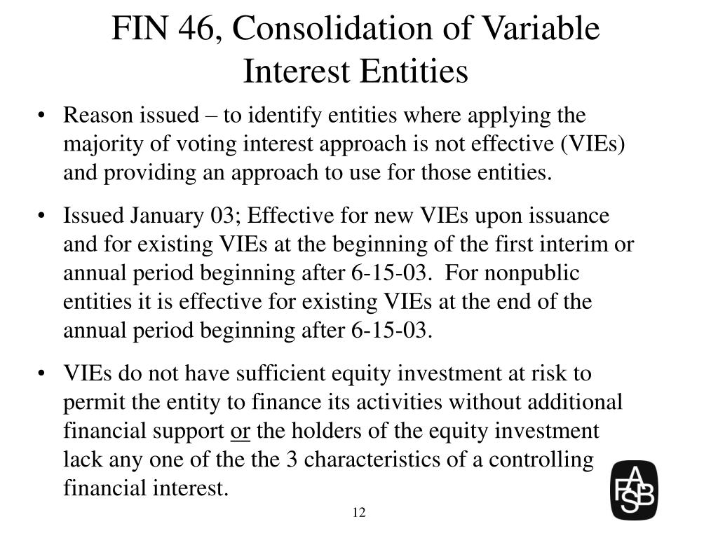 FIN 46, Consolidation of Variable