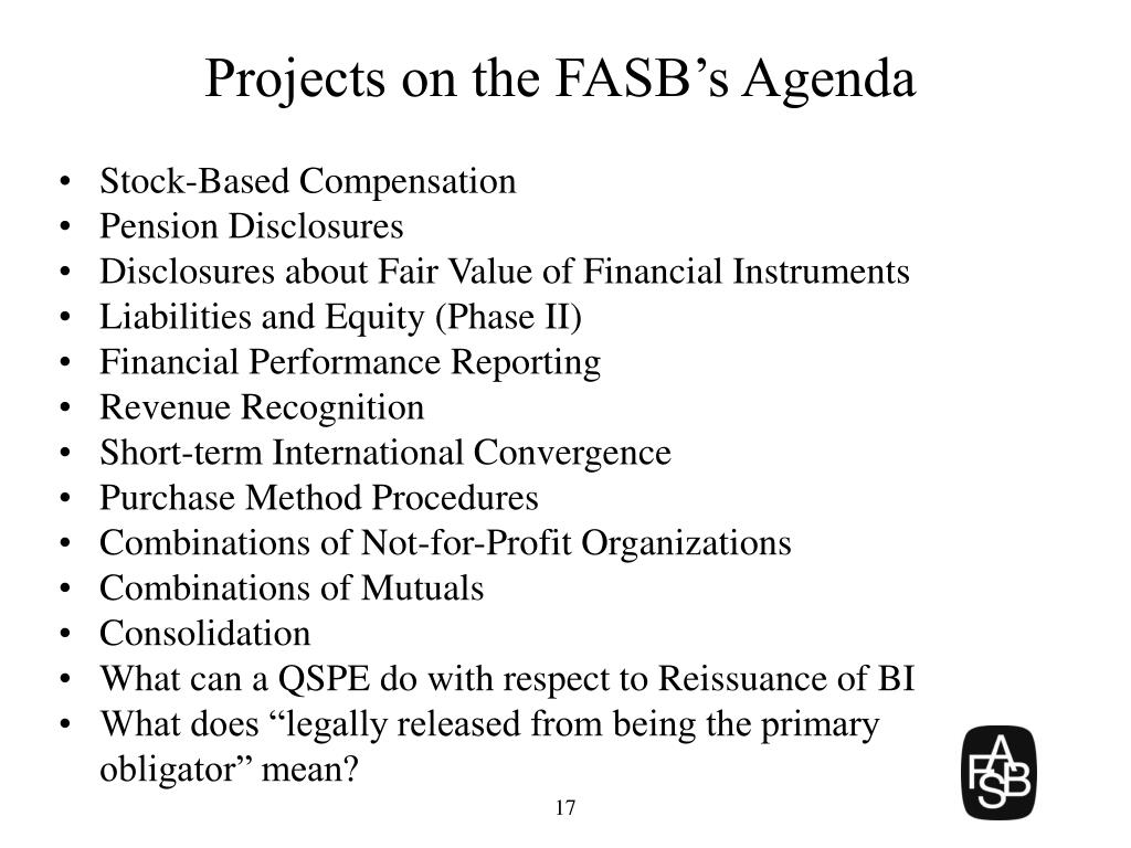 Projects on the FASB's Agenda
