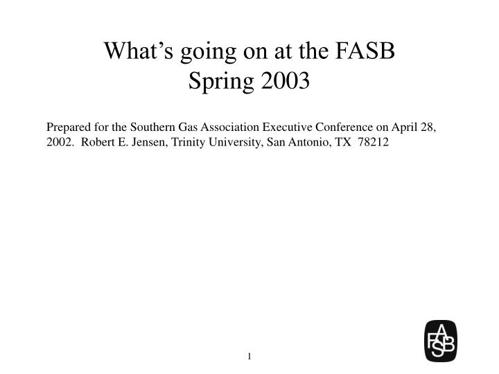 What s going on at the fasb spring 2003