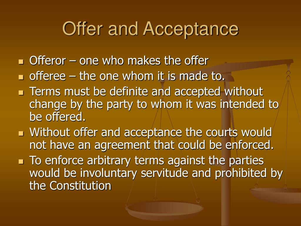 Offer and acceptance essay