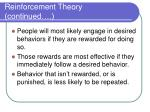 reinforcement theory continued