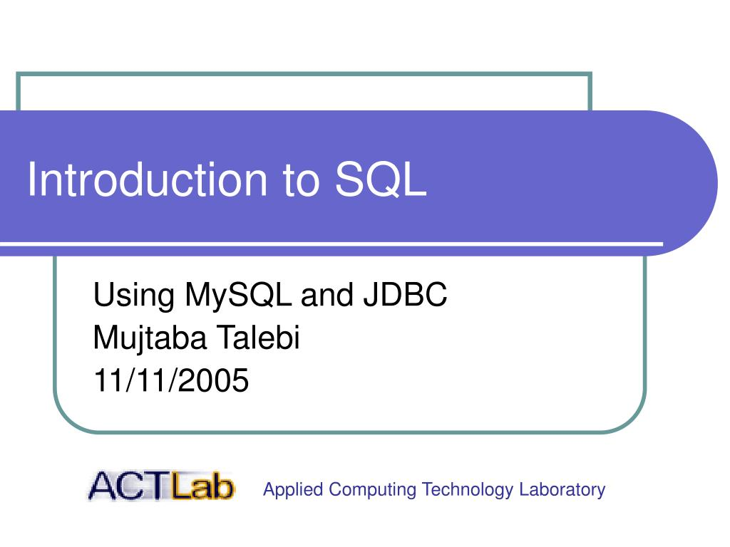 introduction to sql l.