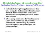 cd installed software lab network or hard drive application service providers company s web server