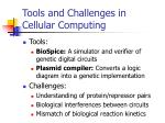 tools and challenges in cellular computing