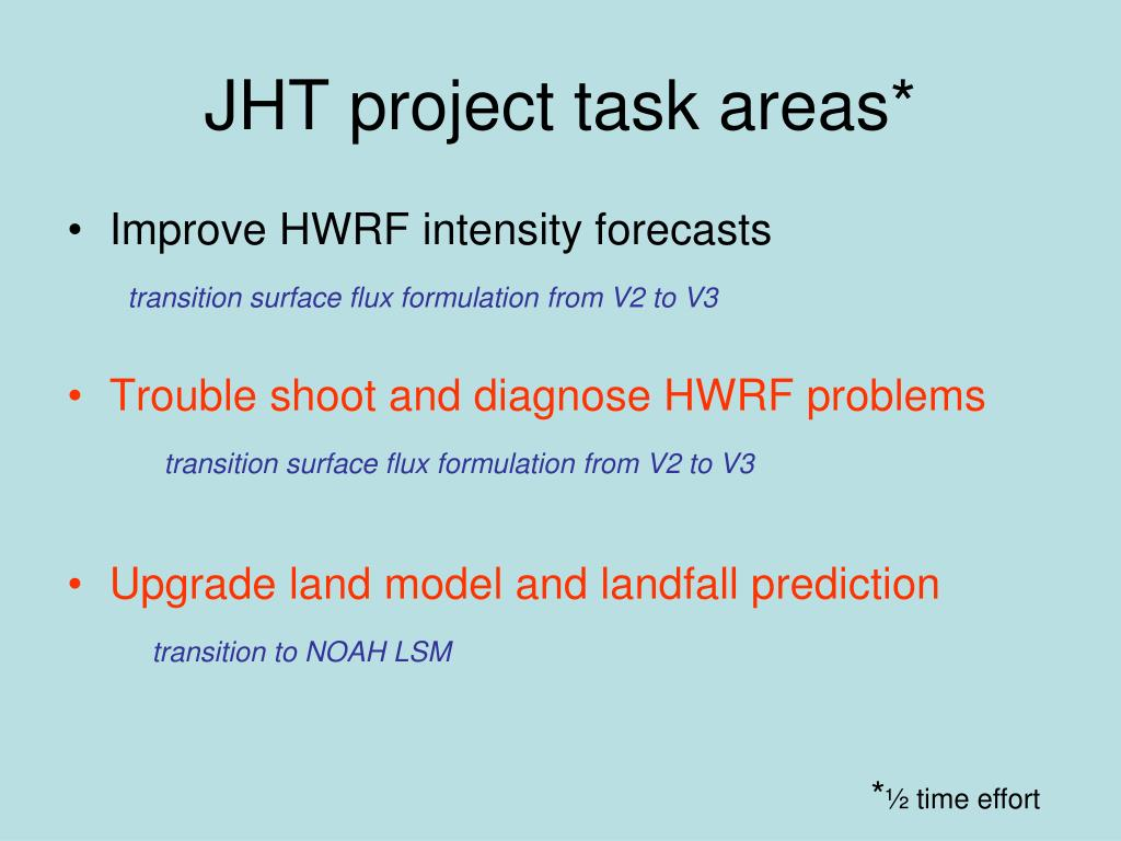 JHT project task areas