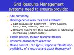 grid resource management systems need to ensure provide