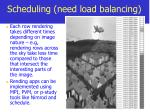 scheduling need load balancing