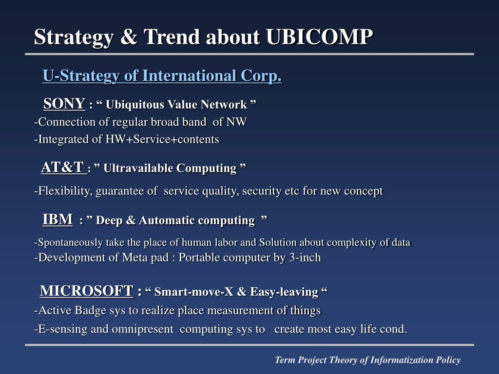 Strategy & Trend about UBICOMP