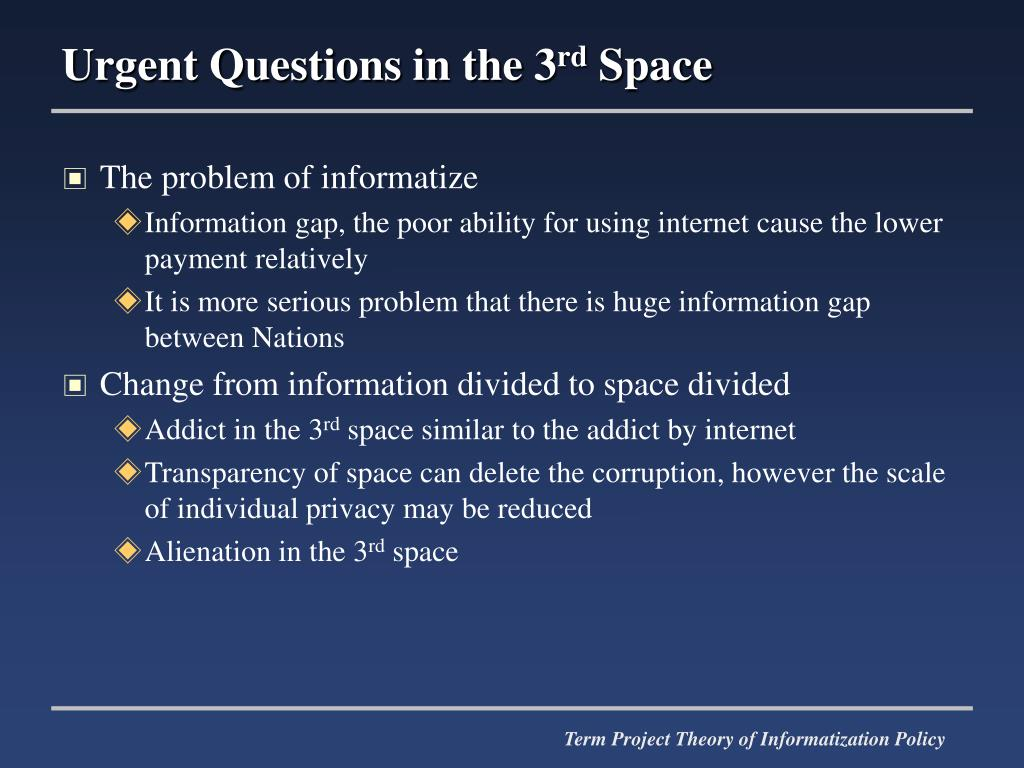Urgent Questions in the 3