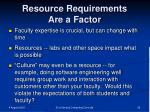 resource requirements are a factor
