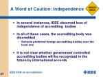 a word of caution independence