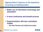 opportunities to improve on the operations of existing accrediting bodies