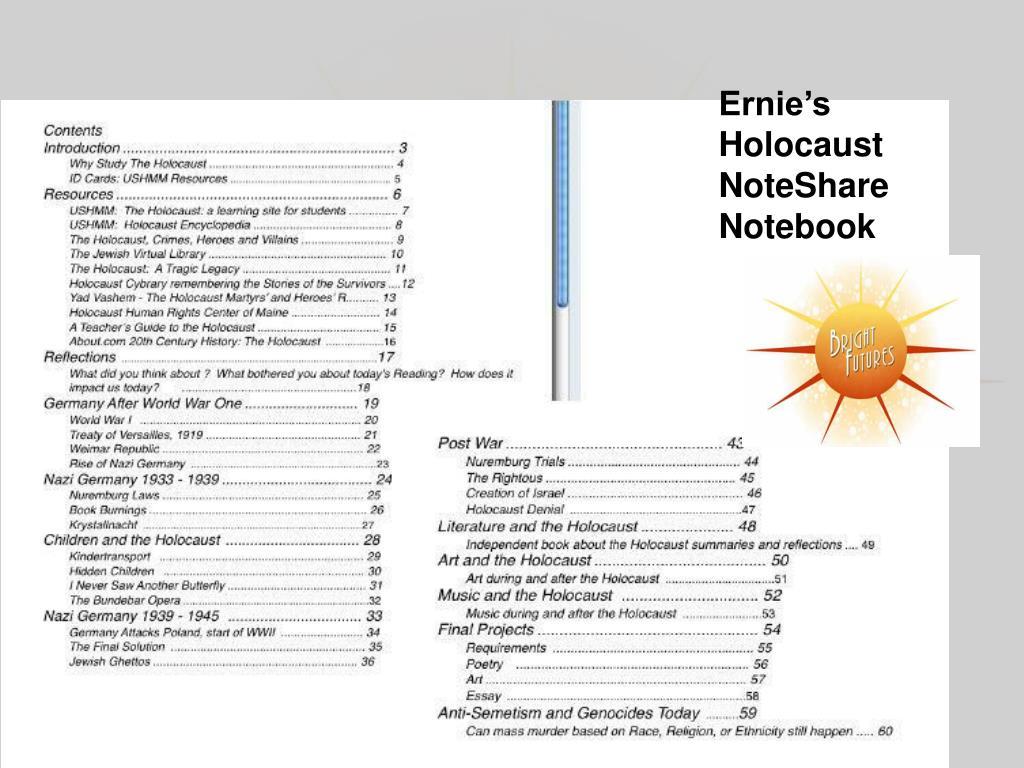 Ernie's Holocaust NoteShare Notebook