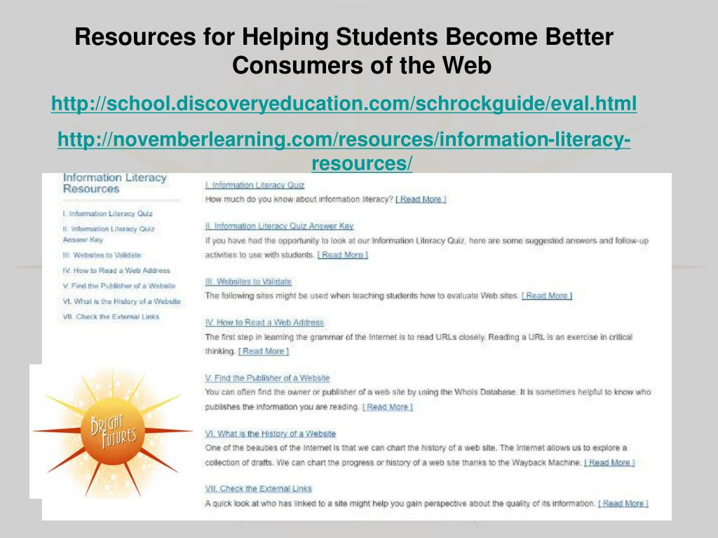 Resources for Helping Students Become Better Consumers of the Web