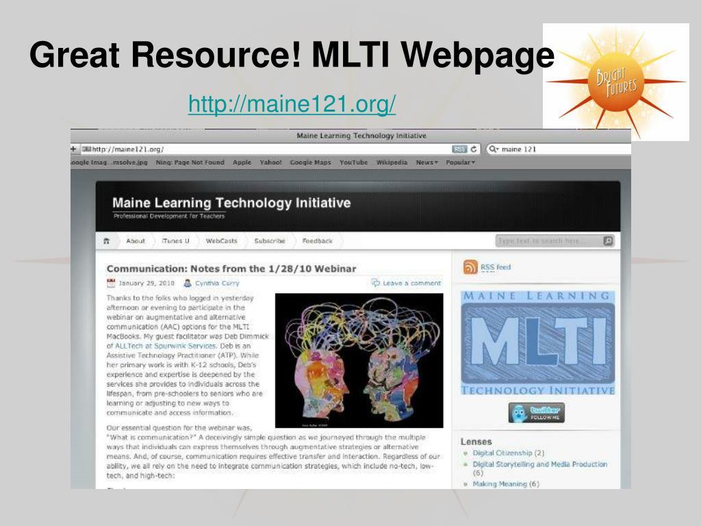 Great Resource! MLTI Webpage