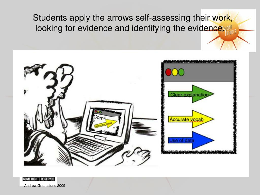 Students apply the arrows self-assessing their work,
