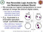 how reversible logic avoids the von neumann landauer bound