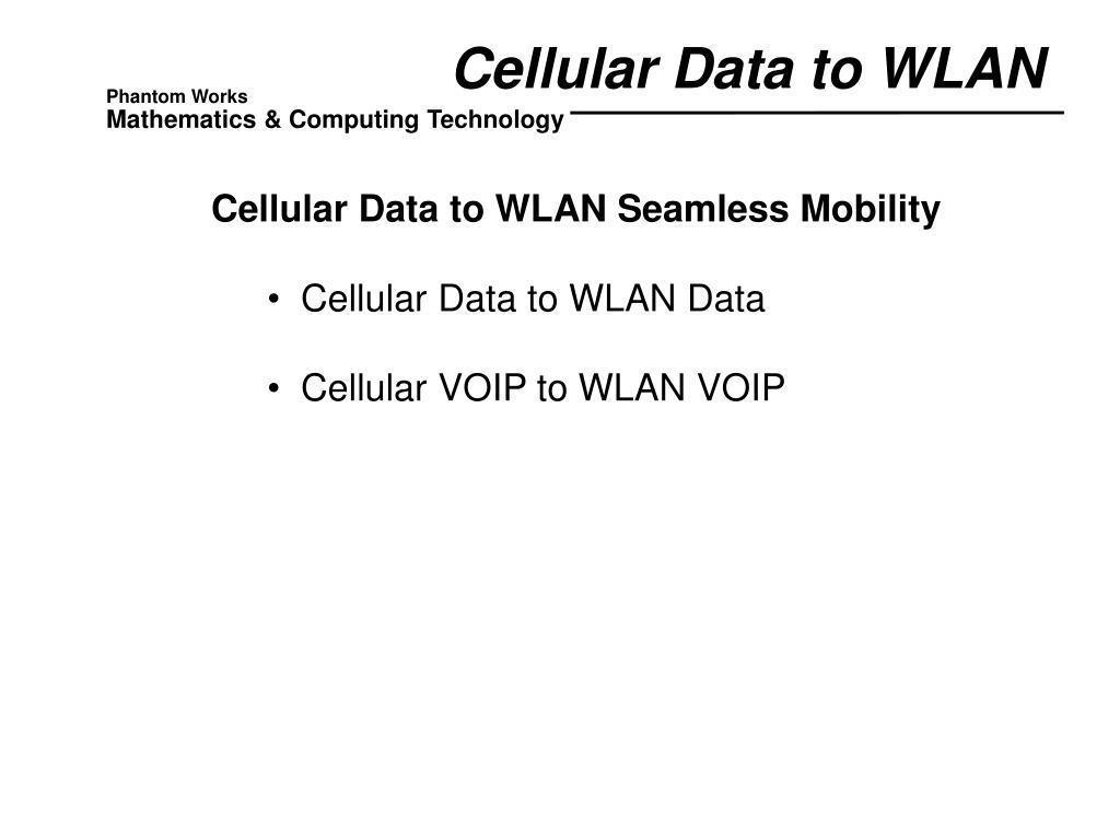 Cellular Data to WLAN