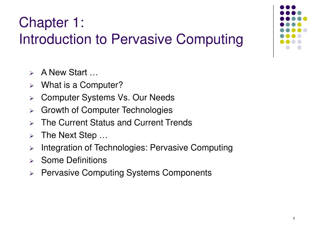 chapter 1 introduction to pervasive computing l.