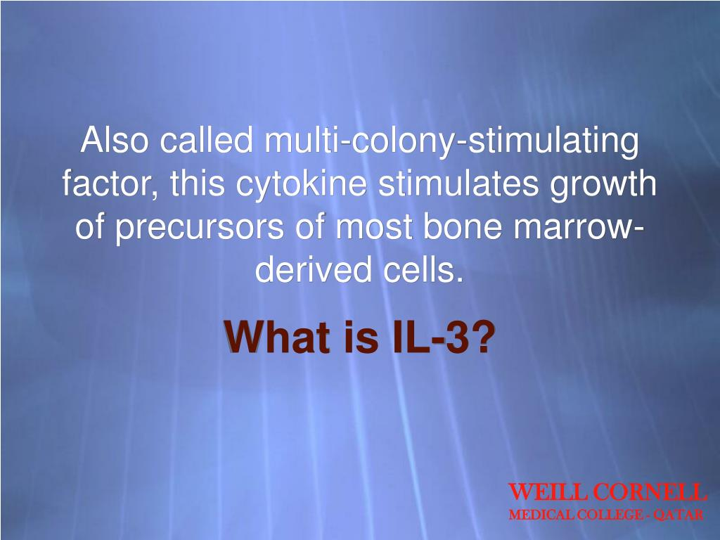 Also called multi-colony-stimulating factor, this cytokine stimulates growth of precursors of most bone marrow-derived cells.