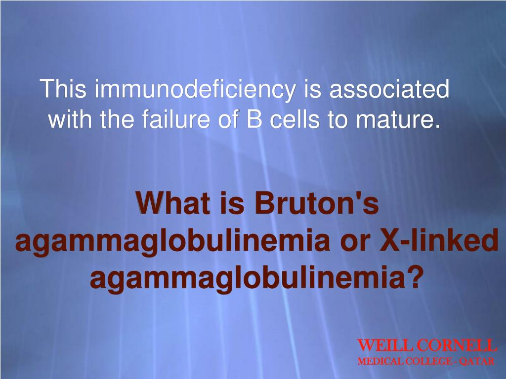 This immunodeficiency is associated with the failure of B cells to mature.
