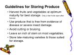 guidelines for storing produce