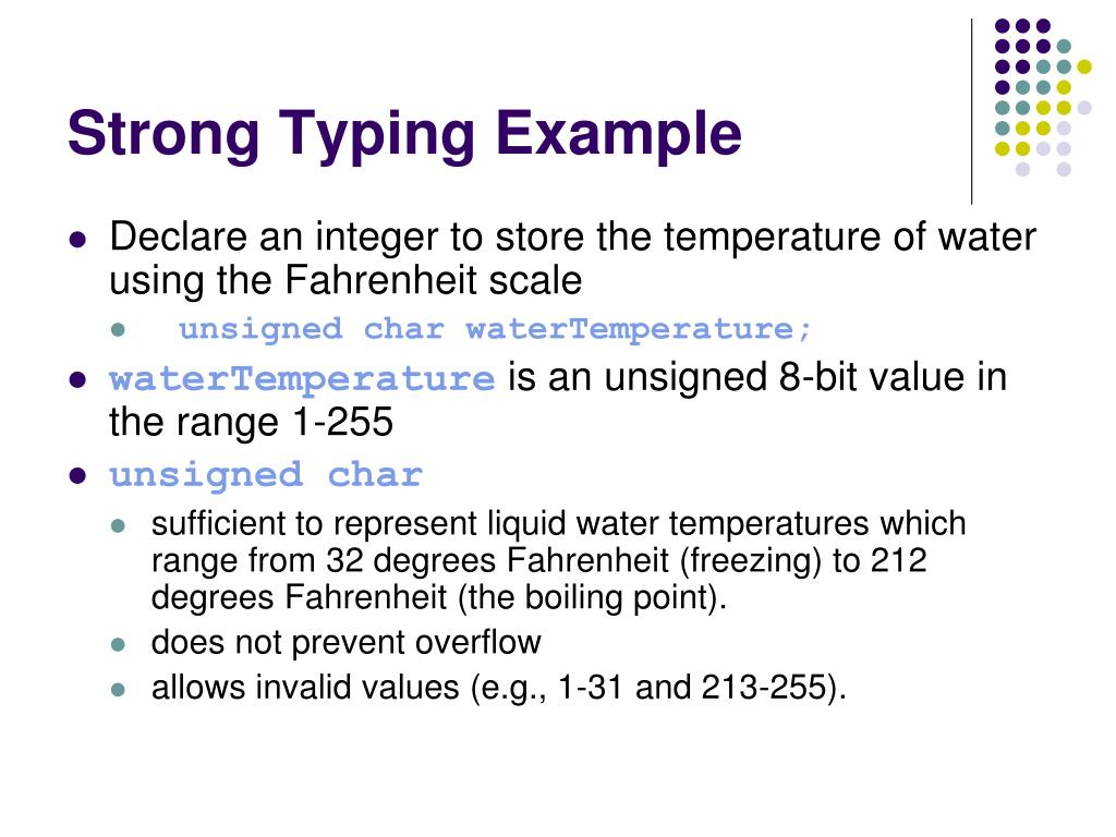 Strong Typing Example