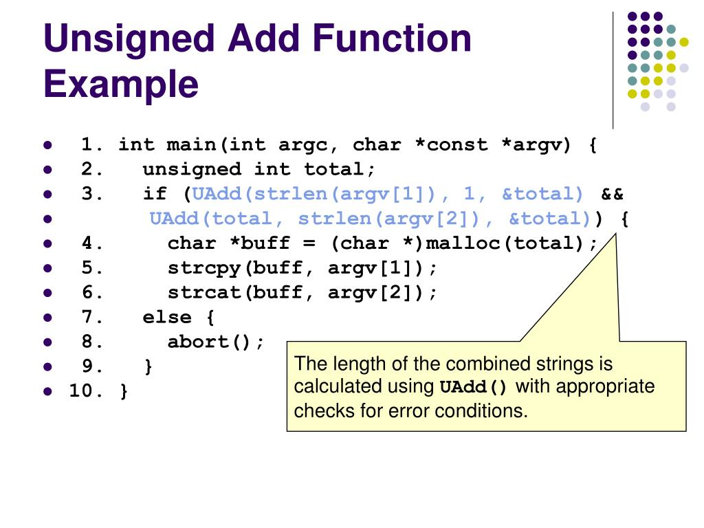 Unsigned Add Function Example