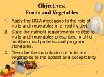 objectives fruits and vegetables