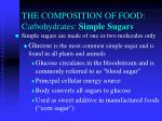 the composition of food carbohydrates simple sugars