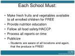 each school must