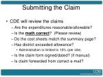 submitting the claim