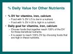 daily value for other nutrients