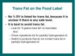 trans fat on the food label
