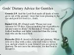 gods dietary advice for gentiles