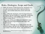 risks etiologies scope and goals