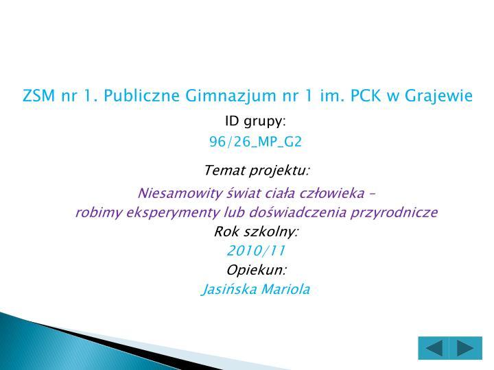 ZSM nr 1. Publiczne Gimnazjum nr 1 im. PCK w Grajewie