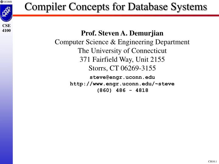 compiler concepts for database systems n.
