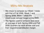 menu mix analysis