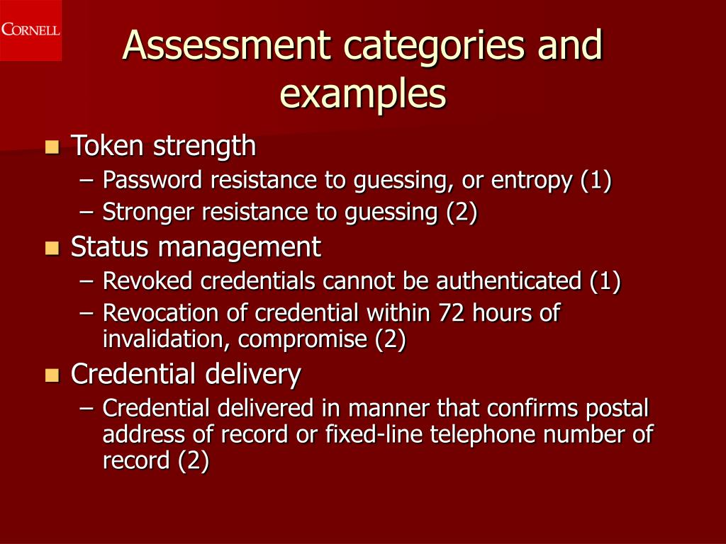 Assessment categories and examples