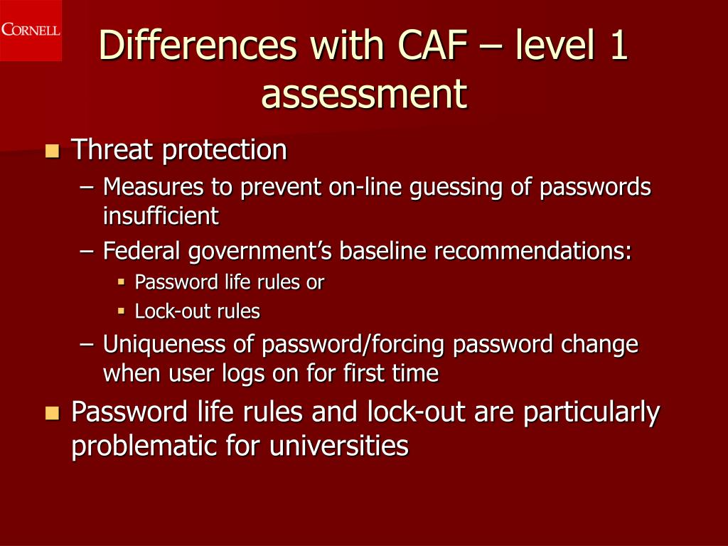 Differences with CAF – level 1 assessment