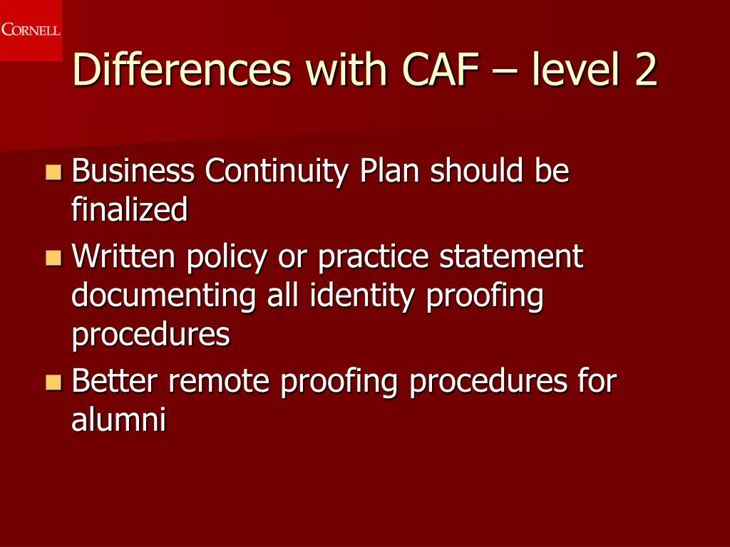 Differences with CAF – level 2