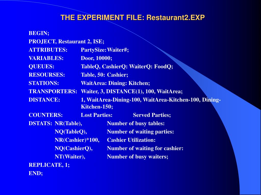 THE EXPERIMENT FILE: Restaurant2.EXP