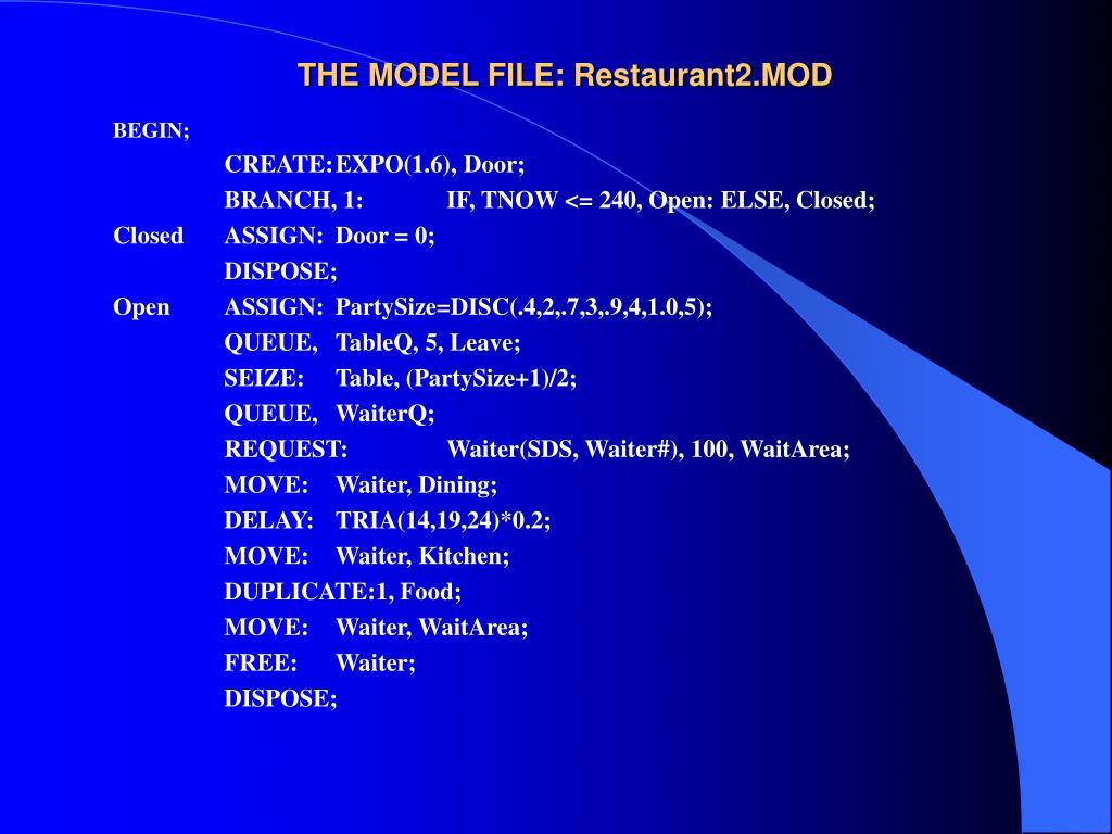 THE MODEL FILE: Restaurant2.MOD