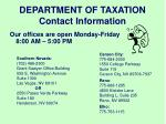 department of taxation contact information