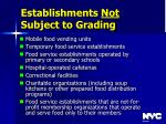 establishments not subject to grading