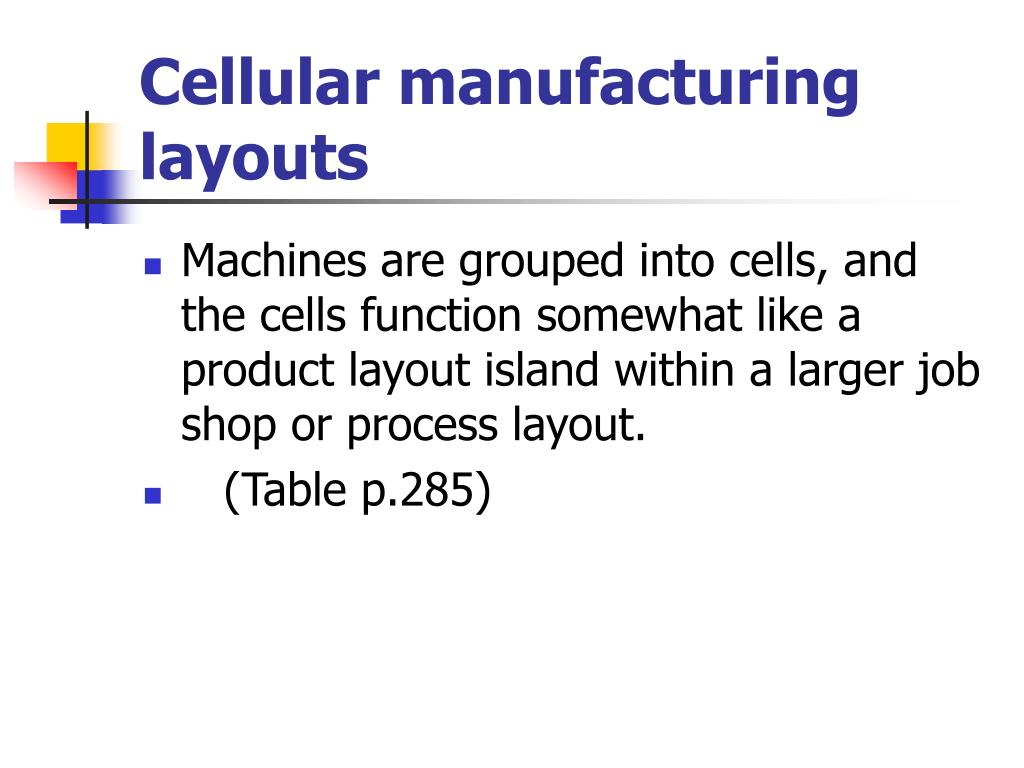 Cellular manufacturing layouts