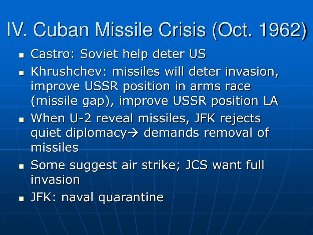 IV. Cuban Missile Crisis (Oct. 1962)