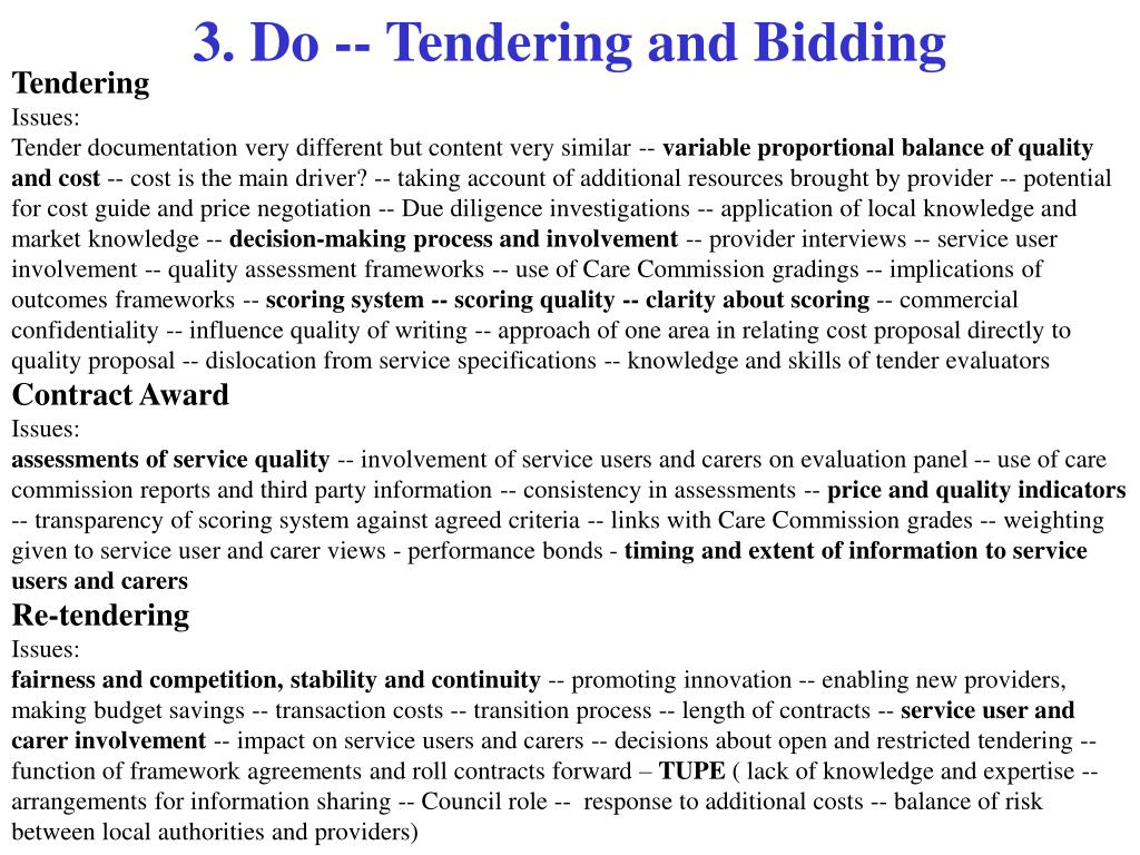3. Do -- Tendering and Bidding